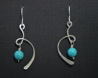 Sterling Silver Magnesite Swirl Earrings