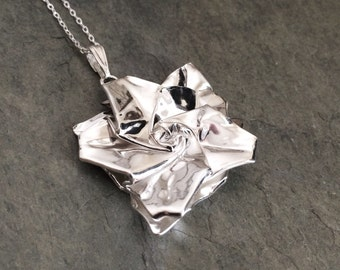 Silver Origami Hibiscus Pendant - Hand Folded