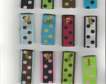Reversible Polka Dot Elastic Belt Toddlers & Childrens Waistband Helper / Tightener Suspender Clips