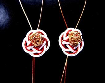 Mizuhiki Japanese Decorative Paper Red White Gold Flower Design