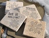 Winter Natural Stone Coasters. Set of 4. Holiday Decor, Snow, Winter Wonderland.