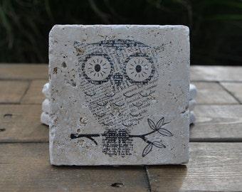 Newsprint Owl Natural Stone Coasters. Set of 4. Housewarming, Holiday, Hostess, Home Decor