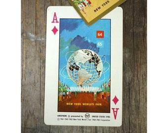 Playing Card - Unisphere - New York Worlds Fair 1964 - 1964 Rocket Age