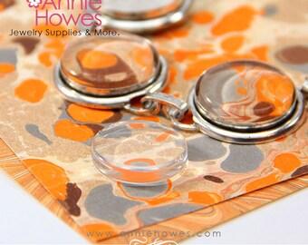 17mm Clear Circle Glass for Earrings, Pendants, Bracelets and Cufflinks. Flat Shape 10 Pack