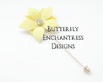 Yellow Wedding Boutonniere, Mens Buttonhole Accessories, Man Gift, Flower Brooch - Yellow Savannah Jasmine Lapel Pin