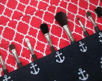 Makeup brush holder , makeup brush roll, Crochet hook organizer, anchors