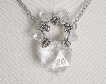 Circle of Ice and Skulls: Dungeons and Dragons D20 Necklace, Wire Wrapped, Hand Woven, Wire Weave, Ice, Silver, Skulls, Crystals