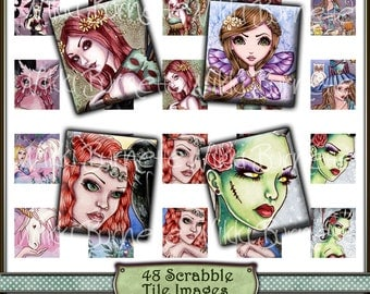 Fantasy Digital Collage Sheet - Scrabble Tile No. 1 - Scrabble Tile Images - Printable Fairy, Mermaid, and Witch Images - COMMERCIAL USE