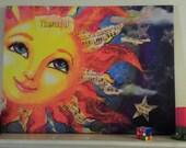 30 in. x 40 in. Custom whimsical sun face on Canvas