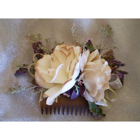 womens hair flower accessory fantasy bridal renaissance floral comb