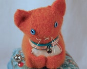 Orange Felted Wool Kitty Pincushion with Vintage Medallion Print and Ball Fringe Trim