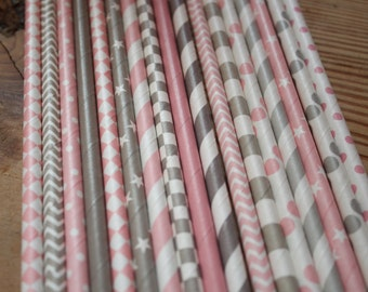 Pink and Grey Elephant Theme Party Straws -- set of 25 -- pink and gray  -- Paper Drinking
