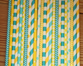 30 Pocahontas Party Straws -- teal, caribbean, yellow, aqua