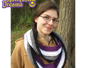 Asexual Pride Scarf Crochet Infinity