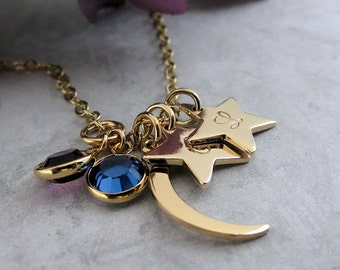 Gold Moon and Stars Necklace - Personalized Necklace - Initial Necklace - Birthstone Jewelry - Hand Stamped Personalized Jewelry - Mom Gift