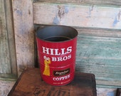 Vintage Hills Bros Coffee Tin 2 Lb Red Can Brand 1960s