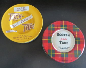 Vintage pair Tape Tins Tuck and Scotch 3-M Large 5 inch Size 1950s