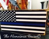 Small Size Primitive Blue Line Flag Wood Sign Plaque Law Enforcement Police Officer Corrections LE Cop