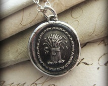 Prosperity Wax Seal Necklace - Wheat Sheaf - A symbol for prosperity, abundance and hope