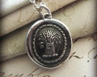 Prosperity Wax Seal Necklace - Wheat Sheaf - A symbol for prosperity, abundance and hope - E2340
