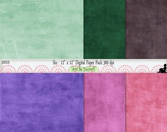 12 x 12 inch Green Brown Purple Pink Painted Background Papers Instant Download Set of 6 Digital Scrapbook Papers JPEG Commercial Use 2025