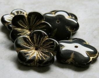 Midnight Czech Glass 20mm Flower Bead : 6 pc Black Gray Flower