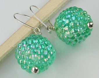 Opalescent Green Lucite Berries with Sterling Earrings