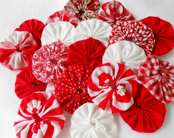 "Fabric Flowers Hair Clip 40 CHRISTMAS PEPPERMINT  1"" Bobby Pin Barrette Ponytail Card Making Scrapbook YoYo Quilt Headband Embellishment"