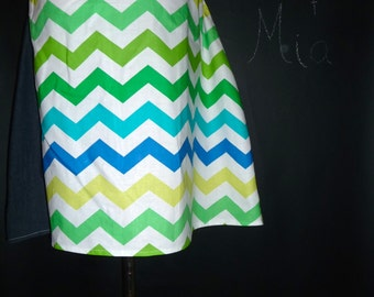 Ready to MAIL -  A-line Patchwork Skirt - Blues Chevron - Will fit Size M up to L - by Boutique Mia