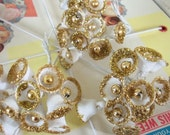 Super Sale / Vintage / Sugared Plastic Bells / White with Gold Glitter Accents / Three Bunches of Twelve