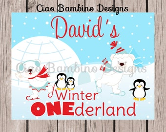 Polar Bear and Penguin Birthday Party Sign / PRINTABLE / Winter ONEderland Sign / You Print - 008
