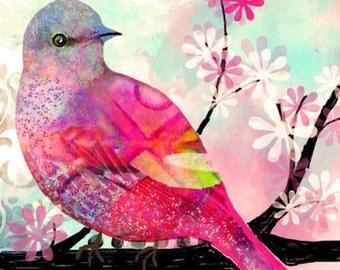 Creating Yourself  bird art print original digital and watercolor collage art bird tree print 8 x 10