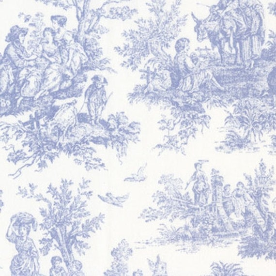 toile fabric colors yardage fabric by the yard navy blue pink black baby blue and white. Black Bedroom Furniture Sets. Home Design Ideas
