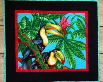 Two Toucans Quilted Wall Hanging, Jungle, Flowers, Tropical, Quiltsy Handmade