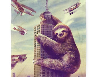Slothzilla, Sloth, Fleece Blanket, Printed in USA