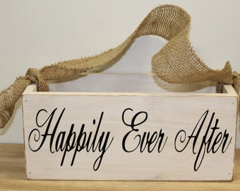 Flower Girl Basket Box Rustic Wedding - Shabby weddings Happily Ever After Here Comes the bride Country Wooden box Chic Burlap Weddings