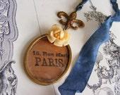 Shabby Chic Bookmark Paris Vintage Repurposed Green Vintage