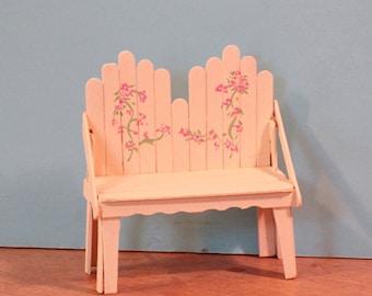 Miniature white Adironack bench