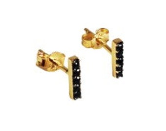 Bar Stud Earrings/Black Crystal Pave/Gift Ideas/Dainty Jewelry
