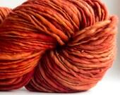 Handspun Yarn Blaze Red Hair 200 yards hand dyed merino wool red yarn waldorf doll hair knitting crochet supplies
