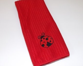 Embroidered Ladybug Kitchen Towel in Choice of Colors