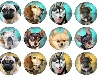 """1"""" Inch Dog Flatback Buttons, Pins or Magnets 12 Ct."""