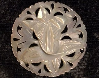 Bethlehem Carved Mother of Pearl Vintage Button XLG Round Tulip Other Styles Too