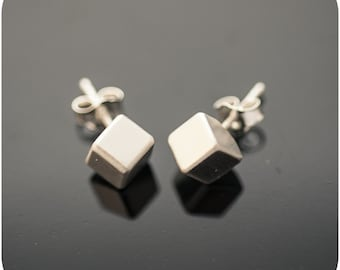 Solid Slant Cube Earrings - Minimal sterling silver everyday earrings