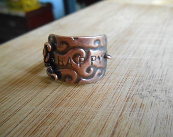 Oxidized Copper Happy Wind Plaque Wire Wrapped Ring Size 7.5 Wire Wrapped Jewelry Handmade