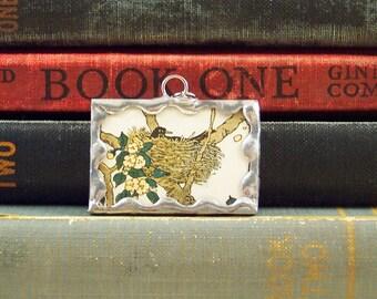 Bird Nest Pendant  - Soldered Glass Charm -  Bird in Nest Charm - Vintage Book Page - Bird Pendant -  Bird Watcher Gift