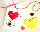 12 Bee Mine Kids Valentines Set - Plantable Paper Bees School Valentine's Day Cards - Flower Seed Bee Valentines Day Party Favors