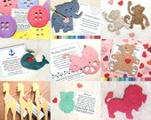 20 Plantable Paper Zoo Animals - Flower Seed Paper Baby Shower Favors - Your choice shape