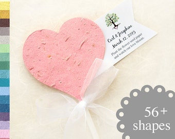 50 Plantable Hearts Wedding Favor Cupcake Sticks - Tree of Life Personalized Custom Cards - Plantable Pots option