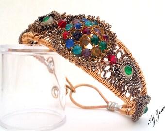 Regal ~Wire Wrapped cuff Bracelet